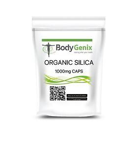 Natural Silica 1000mg Caps Silicon Bamboo Hair/Nails Skin Health BODYGENIX