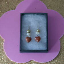 Earrings With M.O.P. Sunstone  Pearls  4.6 Gr. 3.5 Cm. Long + 925 Silver Hooks