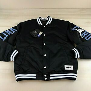 Nike Jordan NRG North Carolina Mens Small Satin Stitched Bomber Jacket Black