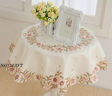 """Square Cream Table Cloth Runner Topper 36"""" Pink Rose Flowers Floral"""