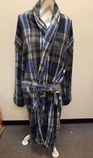 Majestic International Men's Plush Fleece Robe Navy Charcoal Plaid Size L/XL