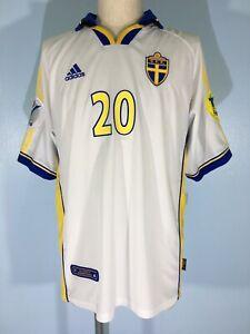 Vtg HENRIK LARRSON SWEDEN EURO 2000 AWAY ADIDAS FOOTBALL SHIRT SOCCER JERSEY L