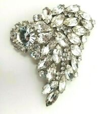 Brooch Silver tone Rhinestones 3 shapes Round Square Navette Clear Bling Large