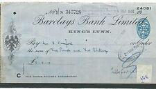 WBC. - ASSEGNO-CH1166-Usato -1944 - BARCLAYS Bank, KING'S Lynn