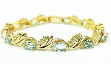 14k Solid Yellow Gold Aquamarine And Diamond Tennis Bracelet 10 CT  20 Grams