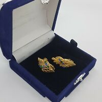 VINTAGE Coro Jewelcraft Clip-On Earrings Leaf Sparkly Gold Tone Mid-Century MCM