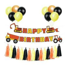 Hapy Birthday Conveyance Bunting Excavator Banner New Ornamental Pull Flower T3