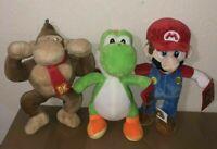 "Various 10"" Nintendo Super Mario Bros Mario Yoshi Donkey Kong Plush Licensed NWT"