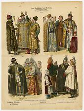 Antique Costume Print-RUSSIA-17TH-18TH C-Braun-1880