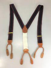 Brooks Brothers Burgundy Blue Stripes Suspenders Braces Button-On Adjustable