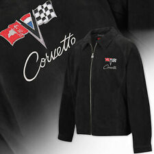 Mens C2 Corvette Extra Long Length Suede Bomber Jacket - BLACK 604830