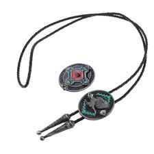 Cordón de cuero Vintage Vintage Bolo Tie Collar Gunmetal Cowboy Belt Buckle
