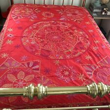 New ListingVtg Handmade Red Embroidered Bed Covering/Wall Hanging Boho Cotton 82�x102�