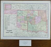 """Vintage 1900 OKLAHOMA INDIAN TERRITORY Map 14""""x11"""" ~ Old Antique Original TRIBES"""