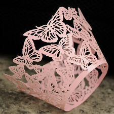 10x Pink butterfly laser cut cupcake wrappers wedding party favour decoration