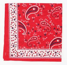Red White Black Paisley Scarf Stars Cotton Bandana Headscarf Necktie Wrist tie