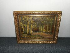 Old oil painting,{ Path through the woods, is signed, nice frame! }. Is antique!