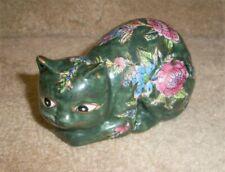 """Cloisonne cat figure sculpture, green, 4"""" x 2"""" x 2"""""""