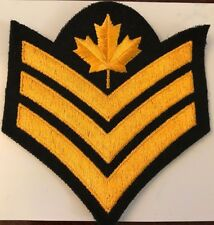 CANADIAN FORCES SERGEANT RANK INSIGNIA  Gold on Black #4937