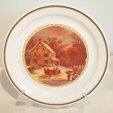 """Corning Currier & Ives Collection 10¼"""" Plate - Winter - Sleigh Ride - Nib"""