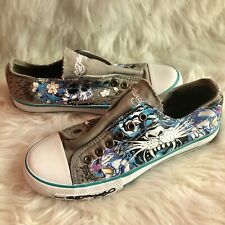 Womens Ed Hardy Canvas Slip On Sneakers Size 5 Blue And Grey Tiger Skull Bling