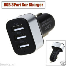 Universal DC 12V USB 3Port Car Charger Adapter For iPhone Mobile Phone Black