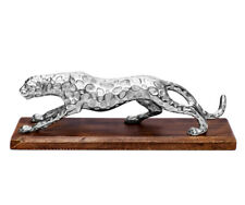 Panther Deco Silver Leopard Decorative Figures from Metal On Mango Wood Socket