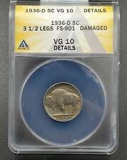 1936-D 3 1/2 Leg Buffalo Nickel Error Variety Coin ANACS VG10 Details Nice Coin