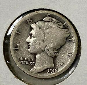 1916 Mercury Dime ~ 90% Silver ~ F