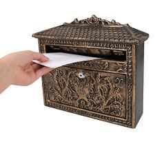 European Retro Locking Mailbox Cast Iron Aluminum Wall Mount Letter Box + 2 Keys