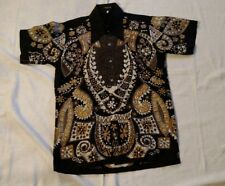 Vtg 60s Tiki Tribal Batik Cotton Hawaiian Button Long Collar Points S Shirt NOS