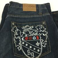 Coogi Australia Jeans Shorts Sz 36 Big Pockets Embroidered Phoenix Hip Hop