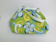 Strada Reversible Green and Blue Floral with Solid Green Satchel Bag 10 X 8 X 4