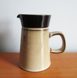 """Denby Country Cuisine Creamer Pitcher  8 oz Tan Brown 5"""" Stoneware 1980s England"""