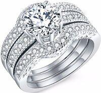 925 Sterling Silver Wedding Engagement Rings 3 Pcs Set