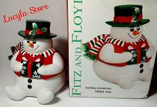 Fitz and Floyd Holiday Christmas Snowman Lidded Box Candy Cookie Jar Container
