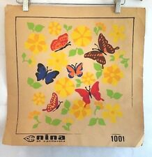 Vintage Needlepoint Art Painted Flowers Butterflies Mid Century Mod Design Color