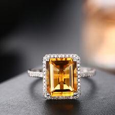 14k Rose White Cushion 10x8mm Flawless Citrine Real Diamond Gorgeous Ladys Ring