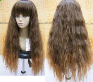Women Wig Long Curly Wave Wig Dark Brown Wigs Headband Cosplay Wig+Wig Cap
