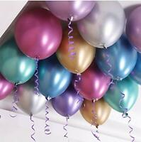 "CHROME BALLOONS METALLIC LATEX PEARL12"" Helium Air shiney Baloon Birthday Party"
