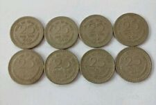 8 Coins Lot: 25 Paise Nickel 1959,1960,1961,1962,1963,1964,1965,1966