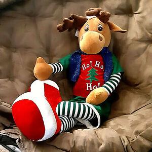 """Dan Dee Moose Plush 38"""" + antlers Ho Ho Ho Christmas Snuggle toy Rare"""