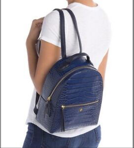 NWT Tory Burch Croc-Embossed Mini Small Leather Backpack $498 Navy Blue