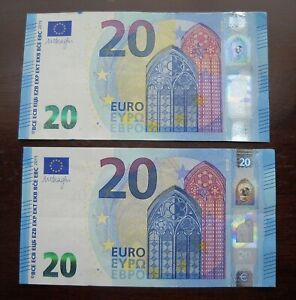 2 x 20 EURO 2015 Circulated Banknotes. 40 Euros Total. Currency
