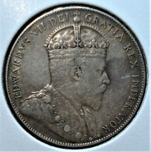 1908 Silver Canada Newfoundland 50 Cents Coin, Nice Detail