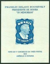 Brazi stamp 1949 Scott # C76a Franklin D Roosevelt Souvenir Sheet, RHM B-12 plus