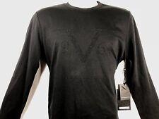 New VERSACE V Raised Logo SHIRT T-SHIRT ITALIA Long Sleeve Mens Black Large size