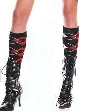 Music Legs 5709 Argyle Knee Socks Goth Pirate Skulls One Size Red White & Black
