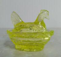 Boyd Signature Vaseline Glass Chicken/Hen on Nest Salt Dish Boyd Name in Nest