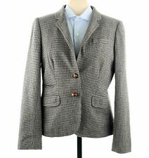 J. Crew Schoolboy Hacking Gray Houndstooth Women's Wool Tweed Blazer Jacket Sz 2